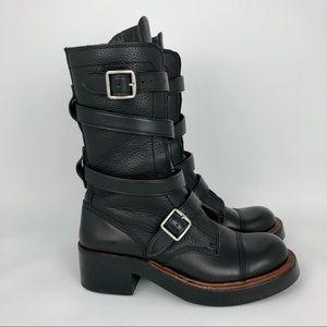 Coach | Black Leather Moto Boots